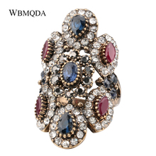 Unique Big Crystal Ring Antique Gold Vintage Jewelry Fashion Turkey Wedding Rings For Women Trending Products 2018 Free Shipping vintage bohemian big statement ring luxury antique gold crystal wedding rings for women turkish jewelry trending products 2018