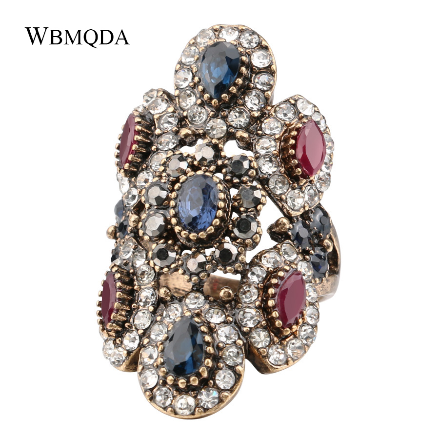 Unique Big Crystal Ring Antique Gold Vintage Jewelry Fashion Turkey Wedding Rings For Women Trending Products 2018 Free Shipping