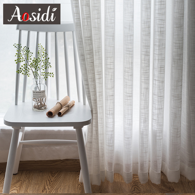 Lino bianco tulle tende per il salone Modem sheer tende per camera da letto Ready made voile tende per la cucina finestra si lega