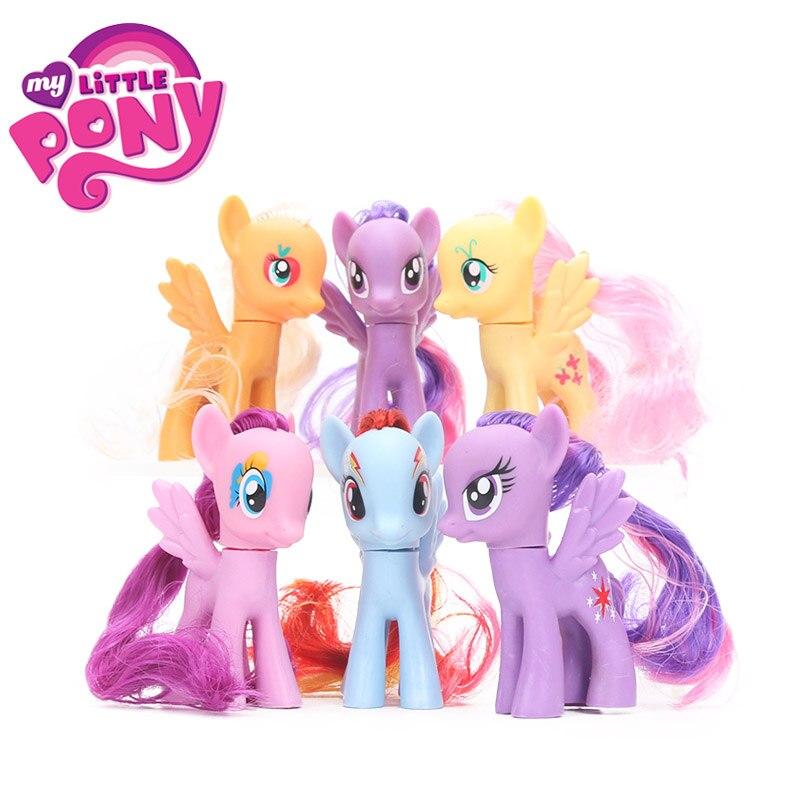Pack of 6 My Little Pony Toys Set Friendship is Magic Rainbow Dash Twilight Sparkle Pinkie Pie Rarity PVC Action Figures Dolls майка классическая printio my little pony rainbow dash