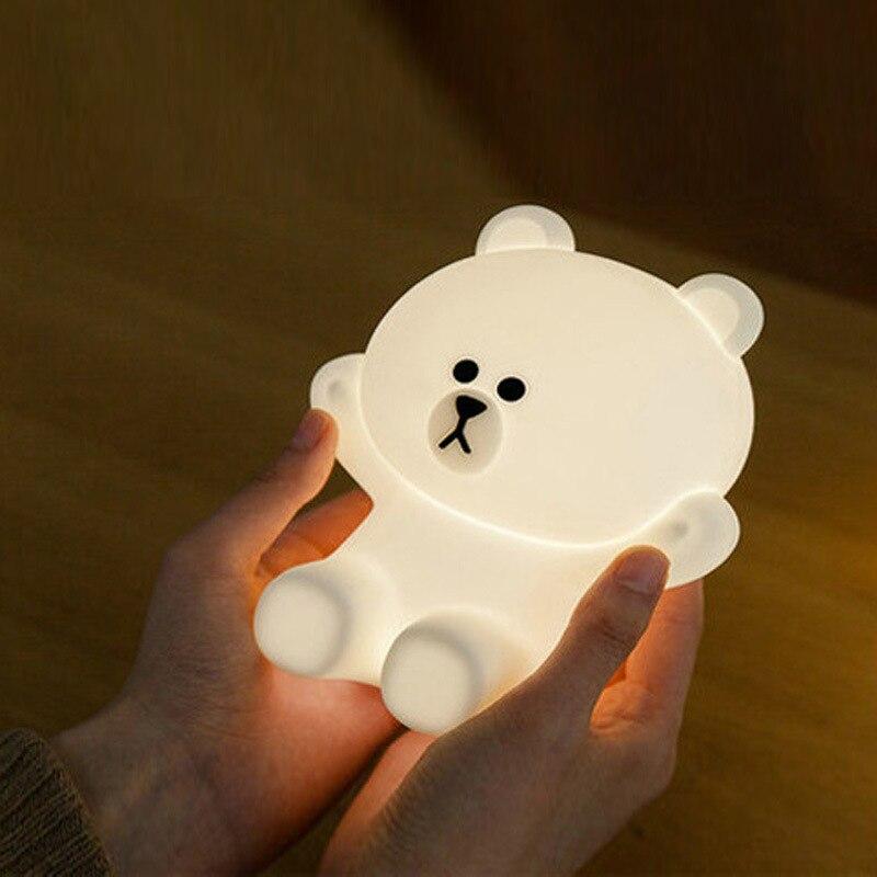 Mini LED Novel Cute Bear Rechargeable USB Night Light Led Lights For Home Baby Lamp Birthday Christmas Gift in LED Night Lights from Lights Lighting