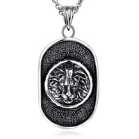 Geometric Round Oval Lion Men Statement Necklace Silver Black Circle Hiphop Pendant Stainless Steel Male Jewelry