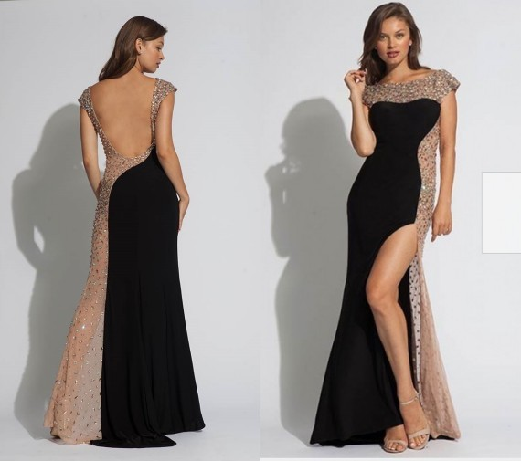 2014 New Arrival Hot Sale Sexy Split Side Scoop Long Chiffon Girls Party  Prom Dresses Open Back Rhinestone Crystal Gowns Dress 093869b4f424