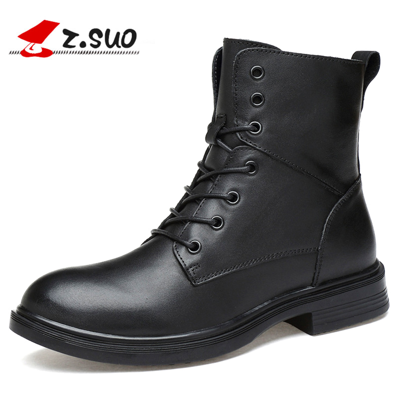 Winter Wear Men Boots Genuine Leather Lace up Mid calf Motorcycle boots men Spring Autumn Comfortable