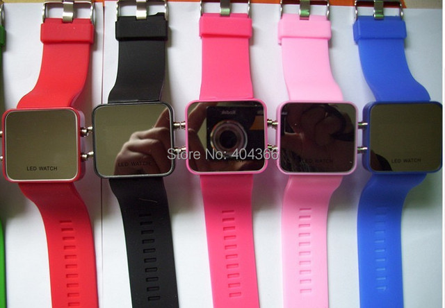 50pcs/lot Led Mirror Watch Plastic Fashion Watches with Red LED Light Free shipping