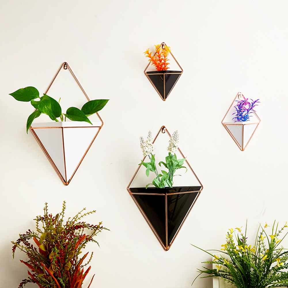 OOTDTY Geometric Hanging Wall Flower Pots Holder Garden Succulent Plants Decorations