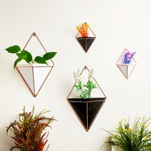 Get more info on the OOTDTY Geometric Hanging Wall Flower Pots Holder Garden Succulent Plants Decorations