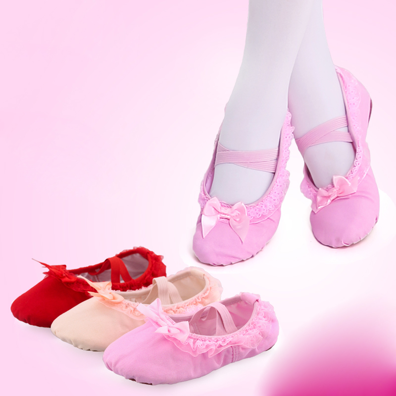 Show details for Children Dance Shoes Girls Ballet Shoes Baby Kindergarten Soft Sole Lace Bow Red Practice Dancing Shoes