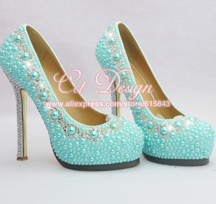 New Arrival Ladies Crystal And Light Blue Pearls Wedding Shoes ...