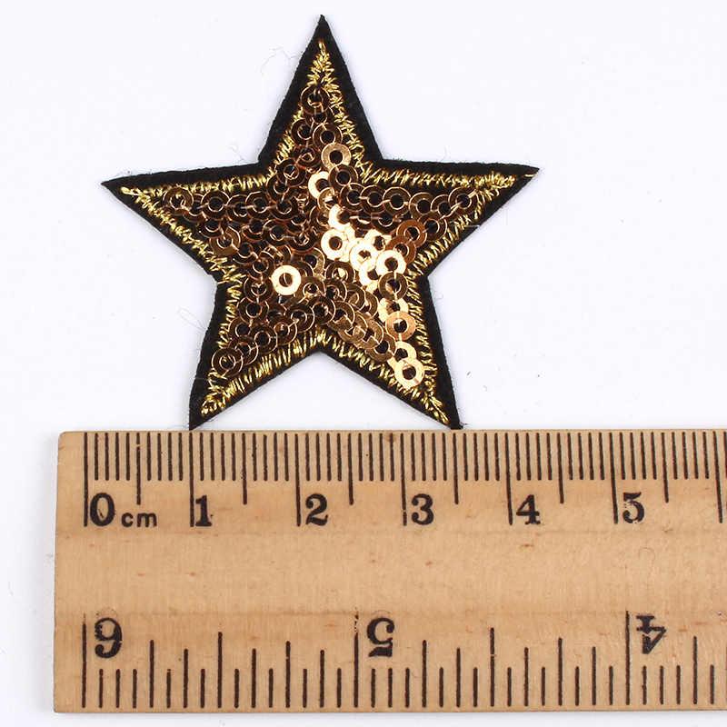 10 adet/grup payetli yıldız yama Glitter yıldız çıkartmaları DIY kumaş aplikler işlemeli demir On mont kot pantolon rozeti aksesuar