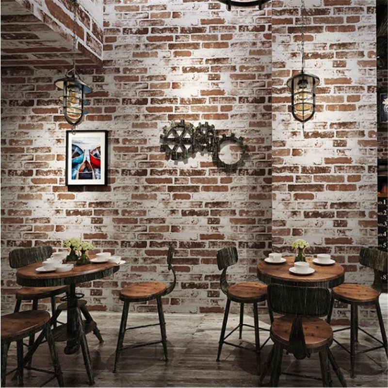 beibehang new Retro nostalgia 3D three-dimensional imitation bricks wallpaper restaurant cafe bar net coffee red brick
