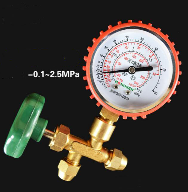 Refrigerator Parts vacuum gauge with metric 3 way valve -0.1-2.5MPa HS-488AH coolant cooling pressure gauge lionel 19532 hormel refrigerator car o gauge train