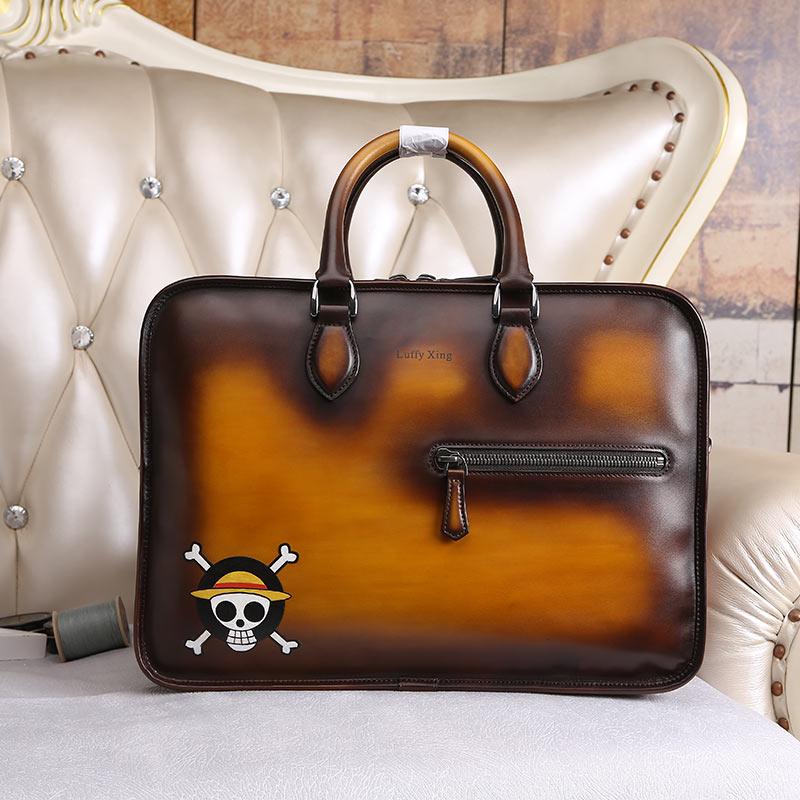 DIMY Patina Bags Briefcase Mens Leather Vintage Laptop Bag Snake Pattern Handbag Shoulder Bag Dutch Calfskin Zipper Male D9061-1