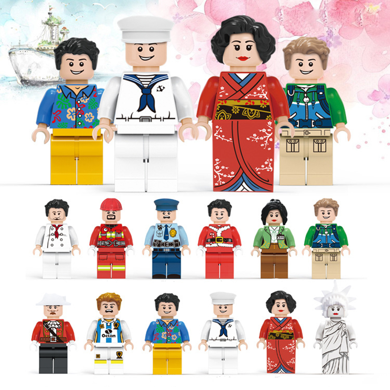 12 Pcs/set DIY Figures City PoliceMan Fireman navy Building Blocks Toys Kids Educational City Set Child gift Assembled blocks child wooden educational toy city venue building blocks toys 50 pieces a set