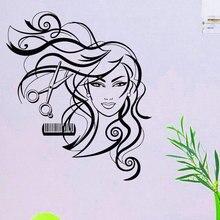 Hairdresser wall sticker decoration smile beauty long hair scissors comb salon wall decals vinyl mural wallpaper MF18