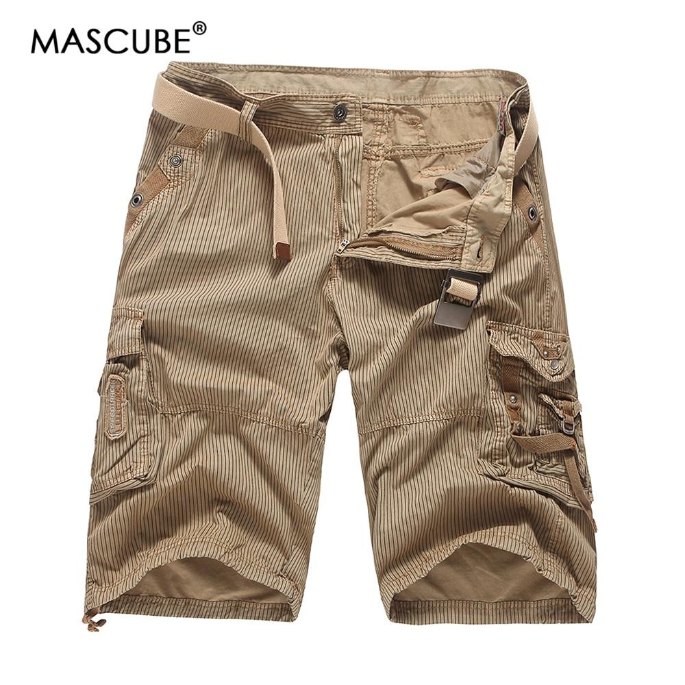 MASCUBE 2018 Mens Shorts Casual New Brand Male Solid Color Stripe Cargo Shorts Men Cotton Fashion Men Short Summer 4 Colors