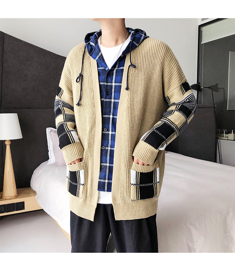 Korean Oversized Sweater Cardigan Men Plaid (6)