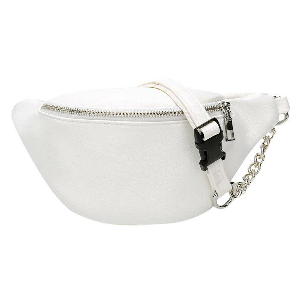 2019 Hot Fanny Pack Fashion Women's Waist Bag PU Leather Solid Color Hip Hop Chain Chest Bag
