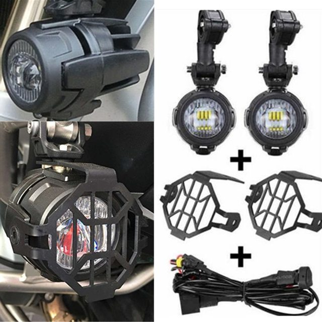 Motorcycle Assembly LED Fog Lights Protector Guards With Wiring