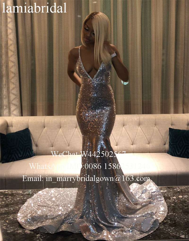 Sexy Bakcless Silver Sequined Mermaid   Prom     Dresses   2K19 Plus Size Crystals Cheap Black Girl 2019 Girl Pageant vestidos de fiesta