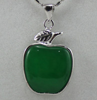 Wholesale Cute Green Jade Apple Silver Plated Inlay Pendant Jewelry