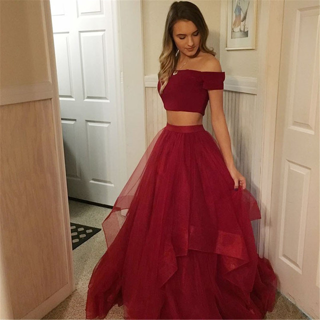 Simple Dark Red 2 Piece Prom Dresses Boat Neck Short Sleeve A Line Tulle Simple Long Evening Gowns 2019 Cheap Party Dress Women