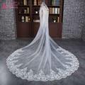 Real photos Lace Edge Ivory Long bridal Veils Wedding Accessories velos de novia bride veil 3 metters