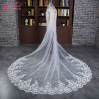Real photos Lace Edge Ivory Long bridal Veils Wedding Accessories velos de novia bride veil 3 metters