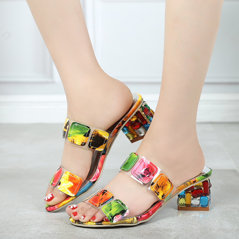 2019 New Summer Women Multi Colors Sandals Fashion High Heels Open Toe Beach Flip Flops Ladies Crystal Heels Shoes Woman XWT1893