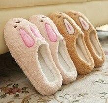 Retail Cute Lovely Rabbit Shoes Women Men Winter Slippers Velvet Soft Plush Animal Pattern Home Slippers For Lovers Indoor Shoes