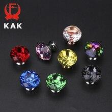 KAK 30 мм алмазная форма дизайн красочные хрустальные стеклянные ручки шкаф выдвижная дверь кухонный шкаф ручки фурнитура