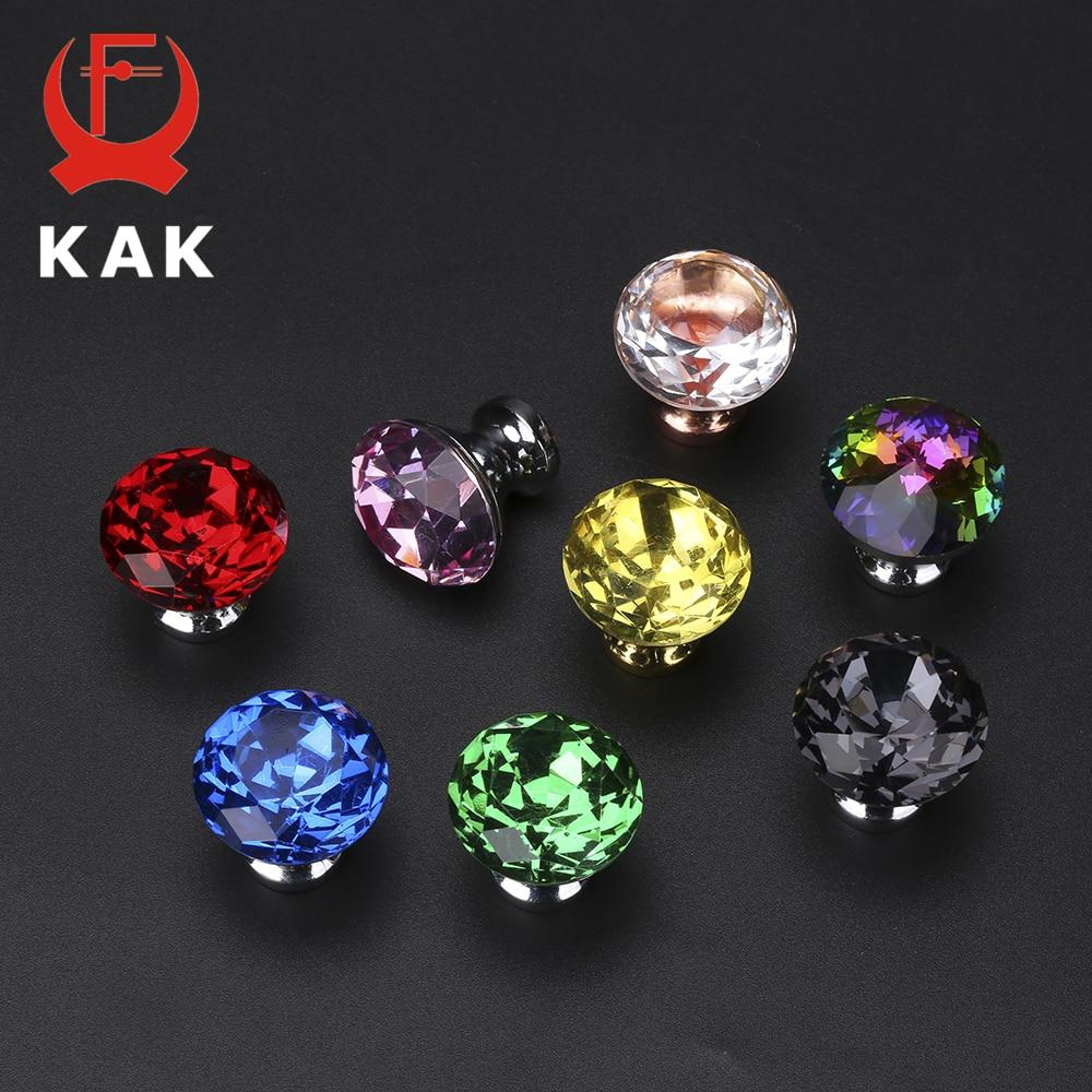 KAK 30mm Diamond Shape Design Colorful Crystal Glass Knobs Cupboard Drawer Pull Door Kitchen Cabinet Wardrobe Handles Hardware