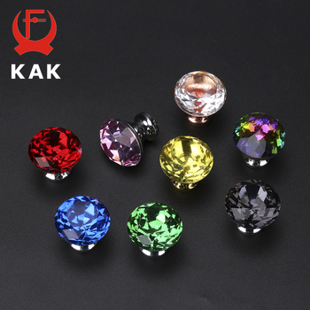 KAK 30mm Diamond Shape Design Colorful Crystal Glass Knobs Cupboard Drawer Pull Door Kitchen Cabinet Wardrobe Handles Hardware 10pcs 30mm diamond shape design crystal glass door knobs cupboard drawer pull kitchen cabinet wardrobe handles hardware decor