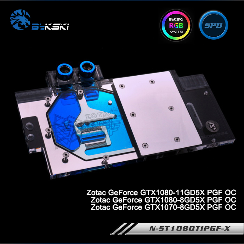 Bykski N-ST1080TIPGF-X Full Cover Graphics Card Water Cooling Block for Zotac GeForce GTX1080/1070-11GD5X/8GD5X PGF OC bykski n gv1080g1 x vga water cooling block for giga gtx 1080 1070