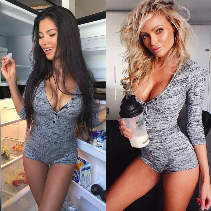 Women Ladies Summer Bodysuit Fashion Sexy Long Sleeve V-Neck Button Solid Sheath Grey Bodysuit Outfit Spring Summer Size S-XL