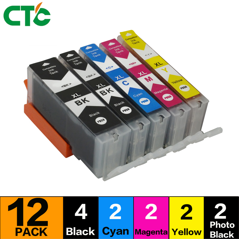 12Compitalbe for Canon PGI 570 CLI 571 XL Ink Cartridge For canon Pixma MG5750 MG5751 MG5752 MG5753 MG6850 MG7750 MG6853 MG7753 6 ink for canon pixma mg7740 ts8040 ts9040 printer pgi 470 cli 471 refillable ink cartridge 6 color dye ink 100ml