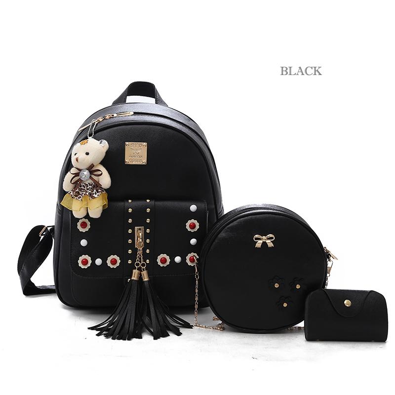 Backpack Female 3 Piece Combination Composite Bag Bear Hanging Inlaid Imitation Diamond Tassel Fashion Casual Shoulder Bag 54