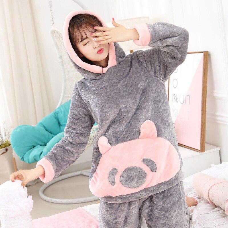 New Winter Thickened Warm Flannel   Pajamas   Long-sleeved Women's   Pajama     Set   Cute Cartoon Pijama Mujer Hooded 2-piece Lamb Cashmere