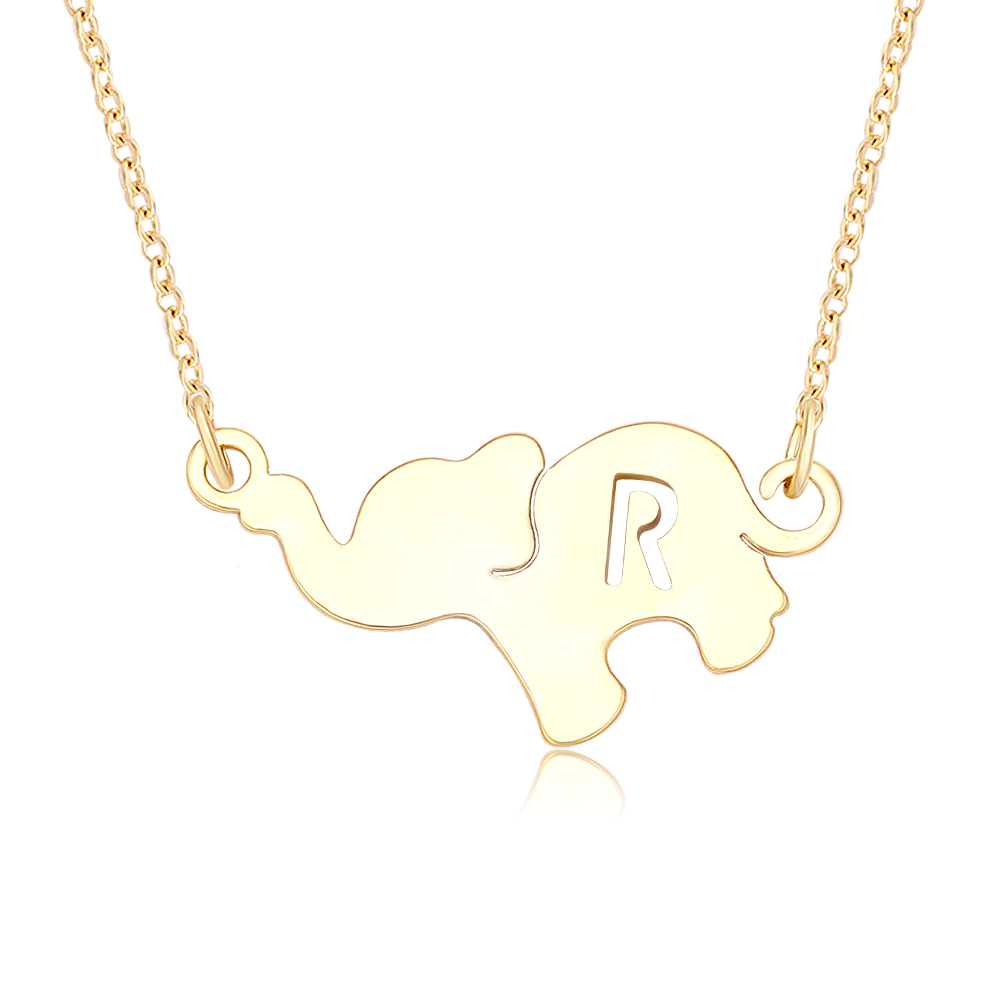 Personalized 18th Birthday Necklace Initial Custom: Custom Personalized Name Initial Pendant Necklace Elephant