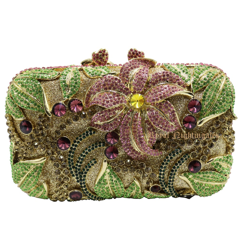 font b Women s b font Square Evening Party Clutches with Leafy and Floral Crystal