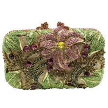 Women's Square Evening Party Clutches with Leafy and Floral Crystal Diamonds