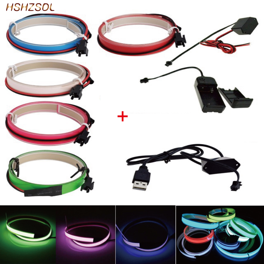 2aa 3V Battery 5V USB Or Dc12v 5color Neon Light Glow EL Wire Rope Tape Cable Strip LED Cold Light Cap Car Decorate Ribbon Lamp