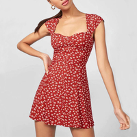 2019 summer Apparel Sweet Women Vintage Floral Print Mini Dress Women Buttons Up Floral Print Mini Dress Fit and Flare Dress