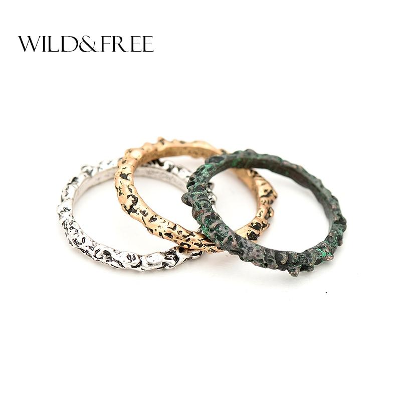 Kvinder 3 stk Vintage 3 farver Midi Fingerring Sæt antik guld sølvfarve Boho Almindelig Knuckle Ring Kvindelige Charms Smykker Ringe