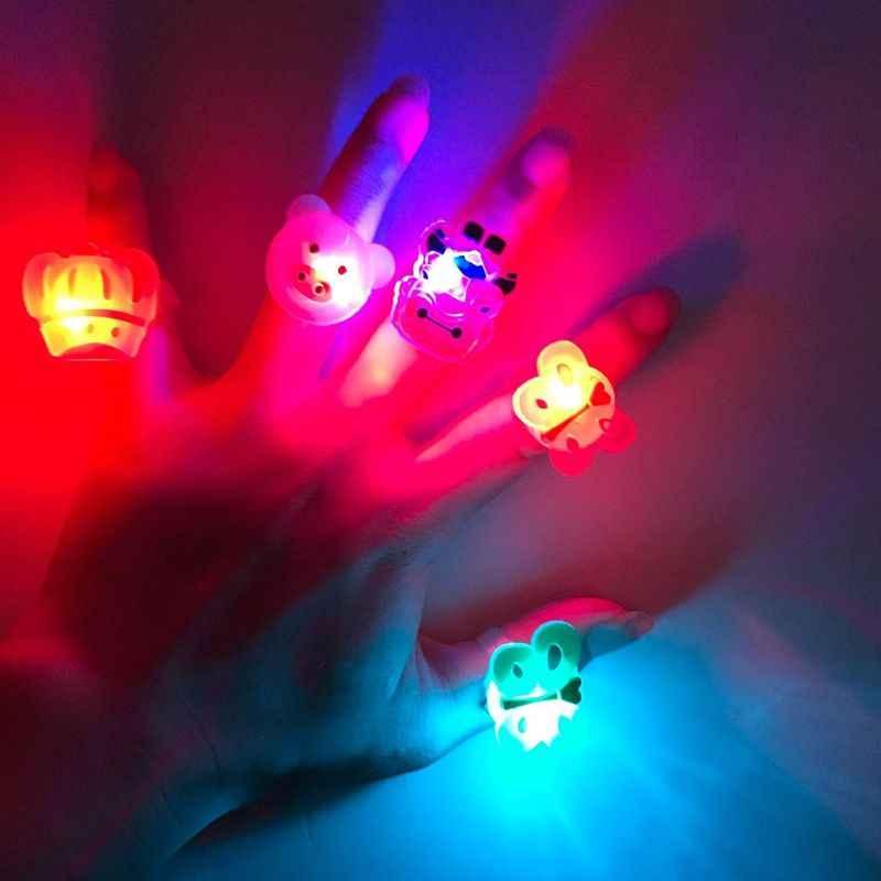 LED resplandor de dibujos animados Dedo de luz de rayos Laser anillo óptico juguete de fibra Flash fluorescente brillante neón intermitente decoración de fiesta de navidad
