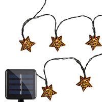 Solar Powered Waterproof 4 8m 20 LEDs Iron Star String Lamp Warm White Outdoor Christmas Garden