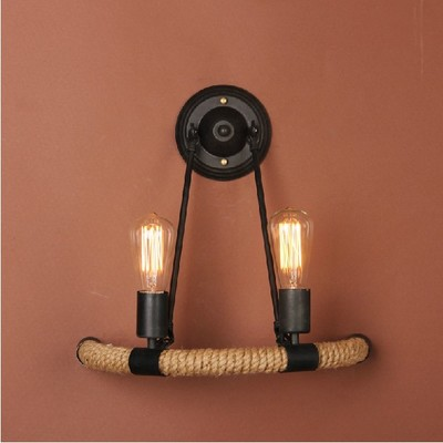 Industrial style Loft American country Iron Retro hemp rope Wall lamps Vintage Industrial Lighting Pendant Lights 110-240v american style hemp rope pendant light personalized bar table lamps nostalgic vintage clothes lighting