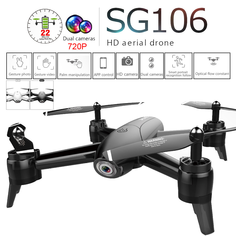 SG106 2.4Ghz 4CH WiFi FPV Optical Flow Dual 720P HD Camera RC Quadcopter Drone