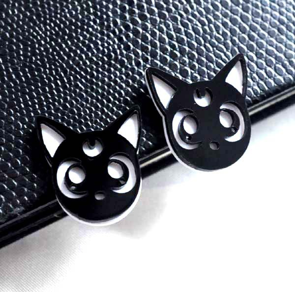 Fashion New Cute Acrylic Black Cat Stud Earrings Female Personality Hip Hop Club Jewelry Accessories