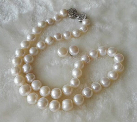 New Arriver Pearl Jewellery Set,AA 9-10MM White Color Cultured Freshwater Pearl Necklace Earrings,Fashion Woman Jewelry Gift недорого